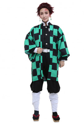 Demon Slayer Kimetsu no Yaiba Kamado Tanjirou Demon Slaying Corps Dämonenjäger Uniform Cosplay Kostüm