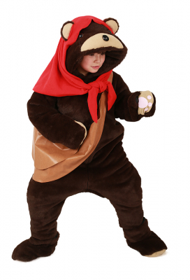 Kids Ewok Bear Costume Mascot with Scarf