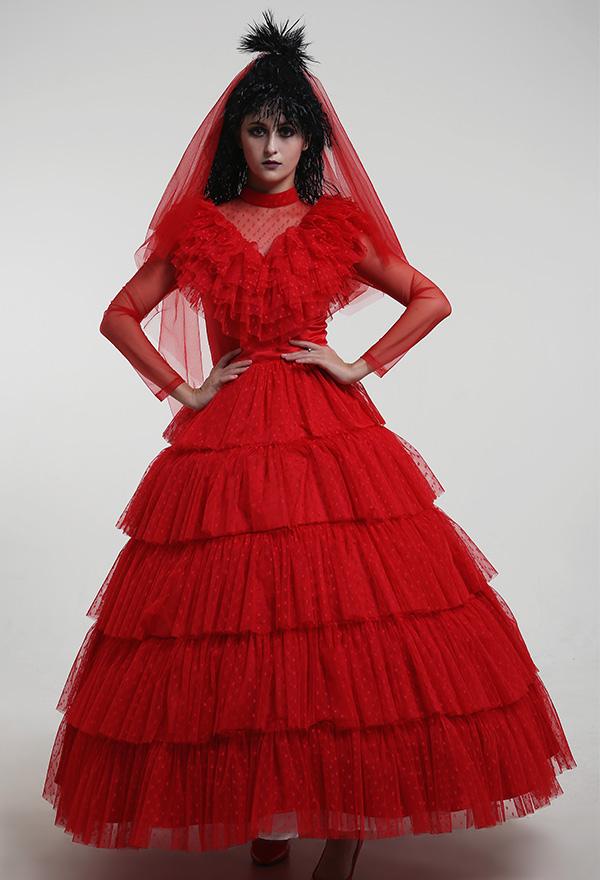 Beetlejuice Lydia Deetz Rot Halloween Cosplay Kostüm Kleid mit Schleier