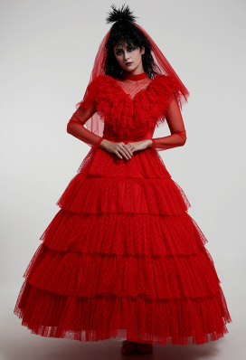 Beetlejuice Lydia Deetz Gothic Red Wedding Style Dress Cosplay Costume for Halloween with Headdress