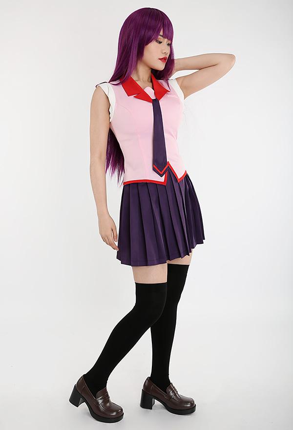 Bakemonogatari Hitagi Senjougahara Cosplay Kostüm Sommer Schuluniform Set