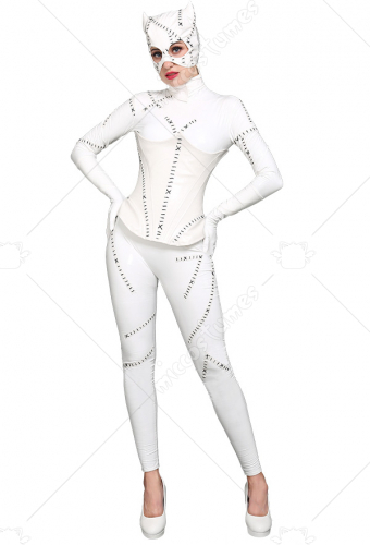 Super Heroine White Jumpsuit Costume Inspired by Catwoman Make to Order