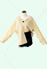 My Hero Academia Himiko Toga Striped Casual Blouse Loose Shirt Cosplay Costume
