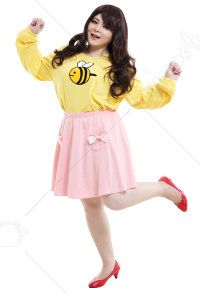 Plus Size Bee and Puppycat Bee Pink Hoodie Skirt Curvy Cosplay Costume