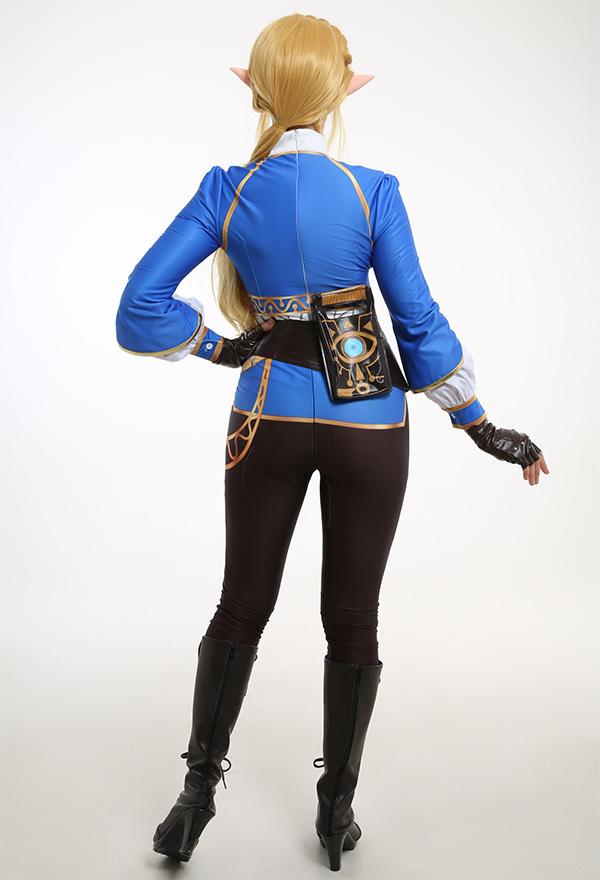 The Legend of Zelda Prinzessin Zelda Cosplay Kostüm Blau Lange Ärme T-Shirt Hosen mit Bauchtasche Handschuhe Gürtel Cosplay Kostüm