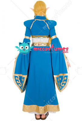 Exclusive The Legend of Zelda Breath of the Wild Princess Zelda Blue Long Dress Gown Cosplay Costume
