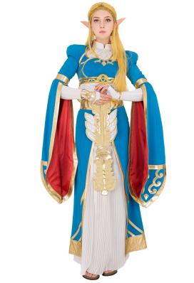 Exclusivo The Legend of Zelda Aliento de la Princesa Zelda Blue Vestido largo Vestido de Cosplay