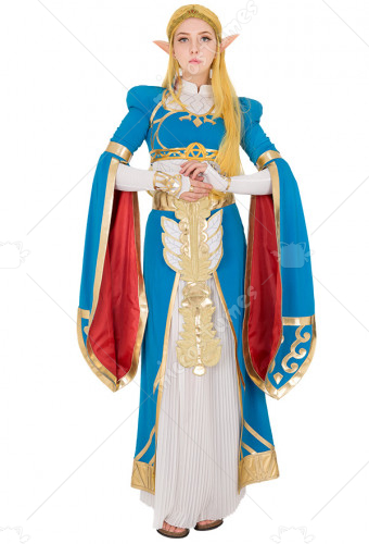 Exclusive The Legend Of Zelda Breath Wild Princess Blue Long Dress Gown Cosplay Costume