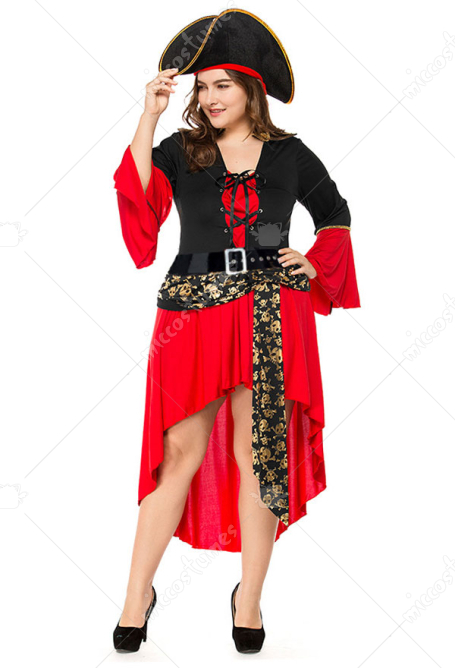 Halloween Skeleton Pirate Cosplay Costume dress including plus size