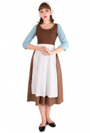 [Free Shipping]Cinderella Cosplay Costume Brown Housemaid Dress with scarf