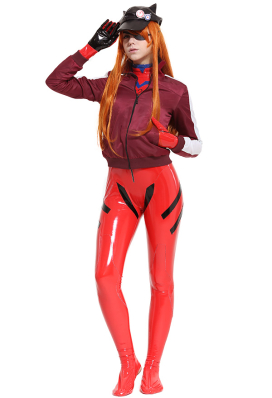 Evangelion Asuka Langley Sohryu Alter Rot Jersey Kappe Cosplay Bodysuit Jumpsuit Overall mit Jacke und Kappe Kostüm
