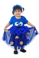 Child Halloween Chocolate Chip Cookie Biscuit Costume Dress with Headdress