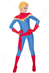 Superhero Cosplay Jumpsuit Costume Spandex Lycra Bodysuit Inspired by Captain Marvel Movie Make to Order