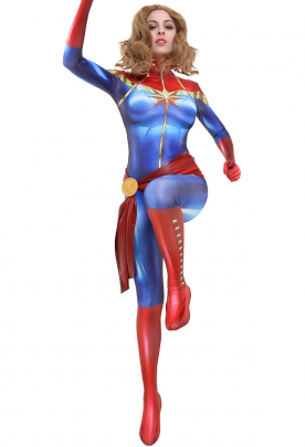 3D Printed Captain Marvel Carol Danvers Cosplay Costume Bodysuit Jumpsuit with Sash