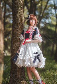Cardcaptor Sakura Cosplay Costume Sakura Sweet Lolita Cute Bowknot Lace Chiffon Ruffle Snow White Lolita Dress