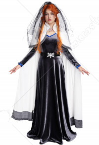 Castlevania 3 Lenore Cosplay Costume Dress Robe with Cloak and Veil