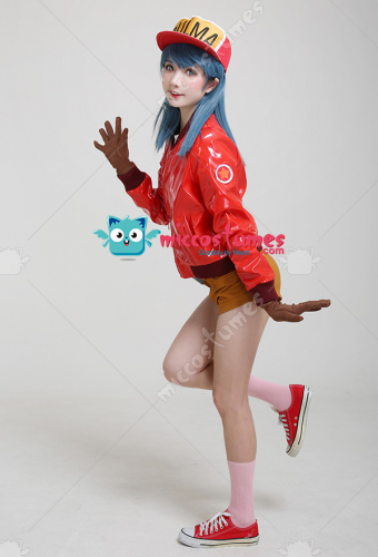 Dragon Ball Bulma Cosplay Costume Red Jacket with Hat