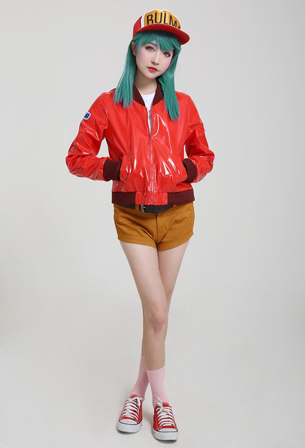 Dragon Ball Glitter Glamours Bulma Cosplay Kostüm Rot Jacke mit Kappe
