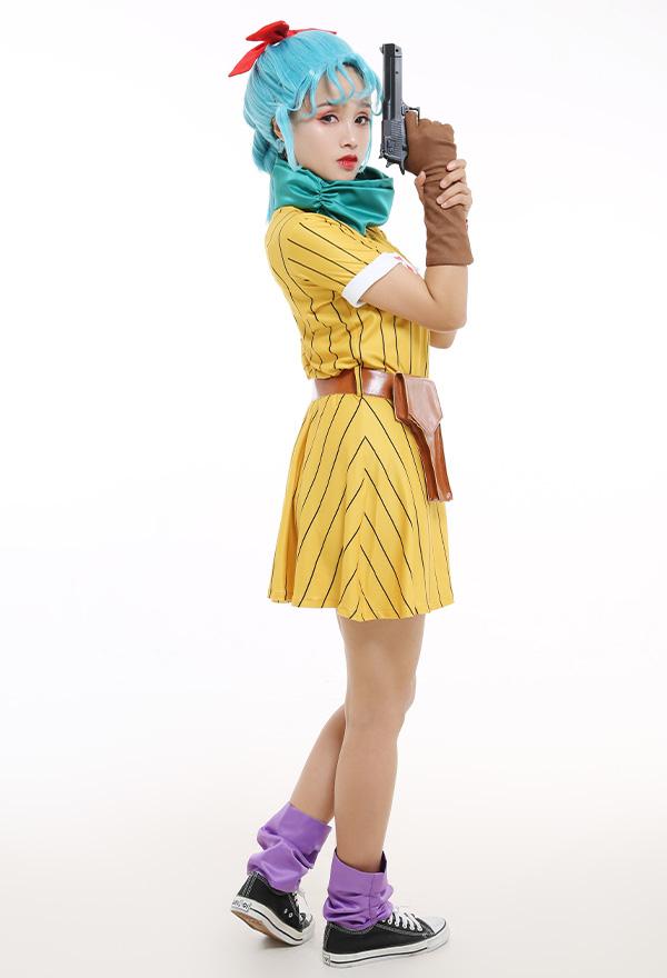 Dragon Ball Z Bulma Cosplay Kostüm Kleid mit Schal und Gürtel
