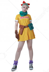 [Free Shipping]Dragon Ball Z Bulma Cosplay Costume Dress with Scarf and Belt