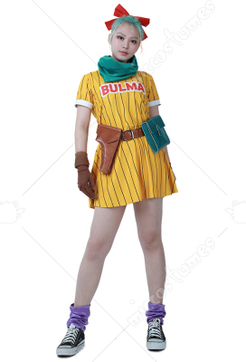 [Free US Economy Shipping] Dragon Ball Z Bulma Cosplay Costume Dress with Scarf and Belt