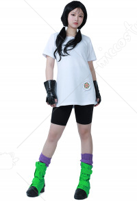 Dragon Ball Z Videl Cosplay Costume with Gloves and Shoe Covers