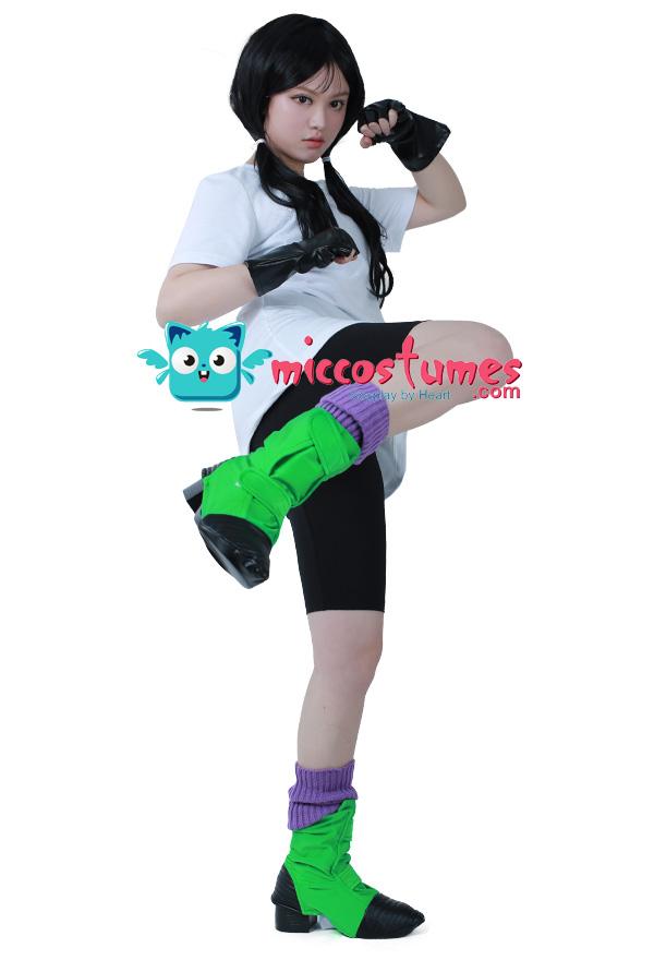 Dragon Ball Z Videl Cosplay Kostüm mit Überschuhe