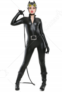 Super Heroine Jumpsuit Bodysuit Cosplay Costume Inspired by DC Comic Catwoman Make to Order
