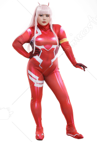 Plus Size DARLING in the FRANXX Zero Two Code 002 Plugsuit Jumpsuit 3D Printed Zentai Curvy Cosplay Costume