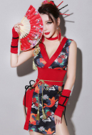 Retro DJ Female Singer Adult Sexy Geisha Cheongsam Cosplay Costume