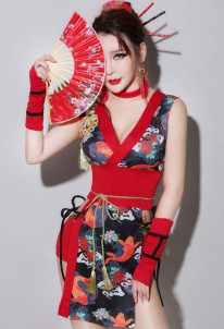 Retro DJ Female Singer Adult Sexy Geisha Cheongsam Cosplay Costume