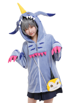 Digimon Adventure Gabumon Derivated Hoodie Cosplay Costume Cute Winged Drawstring Hooded Coat Embroidered Oversized Daily Outfits with Pocket Crossbody Bag