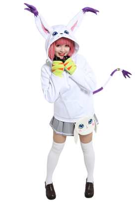 Digimon Adventure Digital Monster Gatomon Tailmon Derivative Hoodie Cosplay Costume Cute Winged Drawstring Hooded Pullover Embroidered Oversized Daily Outfits with Pocket Crossbody Bag and Paw Pattern Gloves