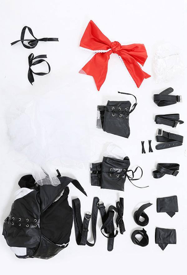 Dead or Alive Cosplay Kostüm Marie Rose Dunkler Stil Gothic Schulterfreies Kleid mit Ärmel Handschuhe Gürtel Beinschlaufe Schmuck Brustgurt Cosplay Kostüm