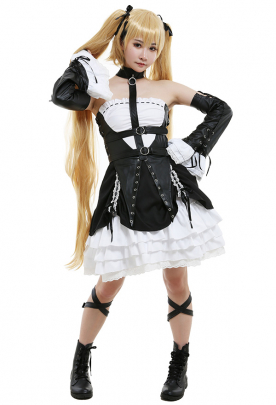 Dead or Alive Marie Rose Dress Set Cosplay Costume Outfit with Headband Hair Clips Bow Sleeves Gloves Belts Group