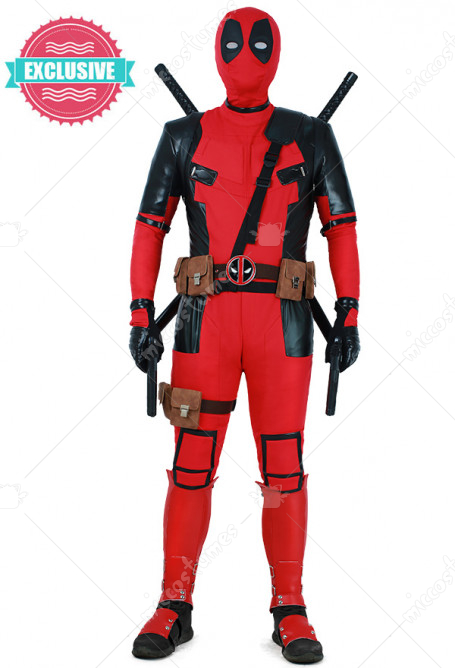 Superhero Exclusive Replica Cosplay Costume Suit with Hoodie and Belts Set Inspired by Deadpool Make to Order