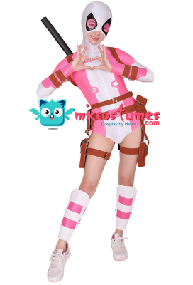 Superhero Cosplay Bodysuit Costume Spandex Lycra Suit with Belt Set Inspired by GwenPool Gwendolyn Gwen Poole Make to Order
