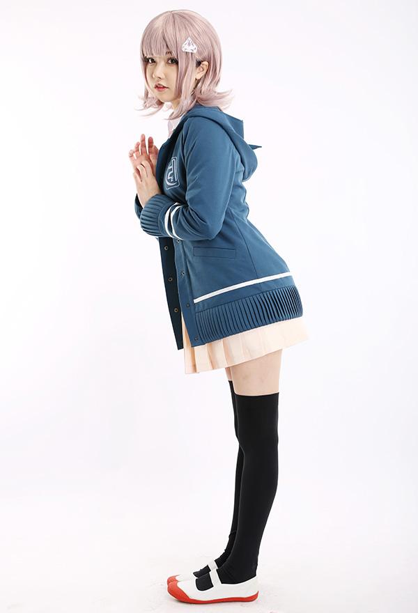 Super Danganronpa 2 Goodbye Despair Chiaki Nanami Schuluniform Cosplay Kostüm mit Kapuzenjacke