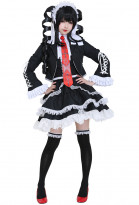 Dangan Ronpa Celestia Ludenberg Cosplay Costume Lolita Dress with Petticoat and Hair Band