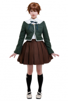Danganronpa Fuji Chihiro Japanese Style Dark Green Suit Jacket and Dress Halloween School Uniform Set Cosplay Costume Outfits with Petticoat and Stockings