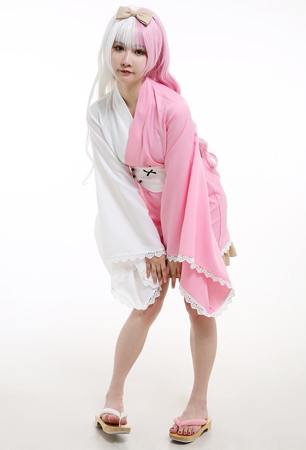 Danganronpa Cosplay Kostüm Monomi Pink und Weiß Kurz Lange Ärme Kimono Kleid mit Bogen Cosplay Kostüm