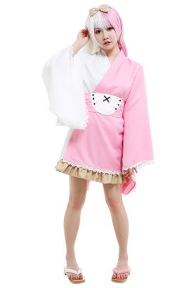 Danganronpa Monomi Derivative Kimono Dress Cosplay Costume Outfit with Belt and Headdress Bow Accessory
