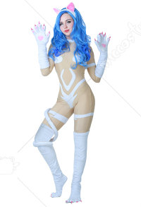 Darkstalkers Felicia Cosplay Costume Bodysuit Jumpsuit with Cat Ears and Tail