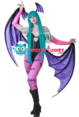 Darkstalkers Morrigan Aensland Cosplay Costume with Wings