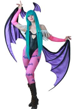 Darkstalkers Morrigan Aensland Cosplay Kostüm mit Flügeln