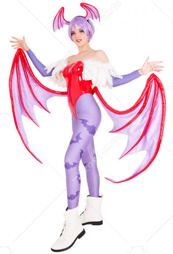 [Free US Economy Shipping] Darkstalkers Vampire Savior Lilith Cosplay Costume with Wings
