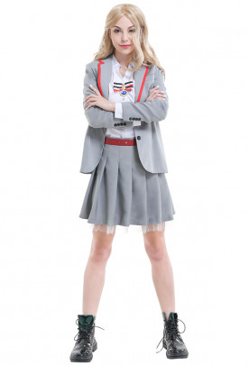 TV Series Netflix Elite School Uniform Gray Girl Pleated Skirt Cosplay Costume with Brooch