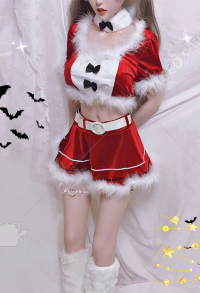Cute Bunny Girl Costume Velvet Sexy Two Piece Set
