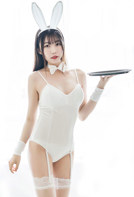 Cute Bunny Girl Cosplay Lingerie Set Sexy One Piece Bodysuit with Rabbit Ear Headdress