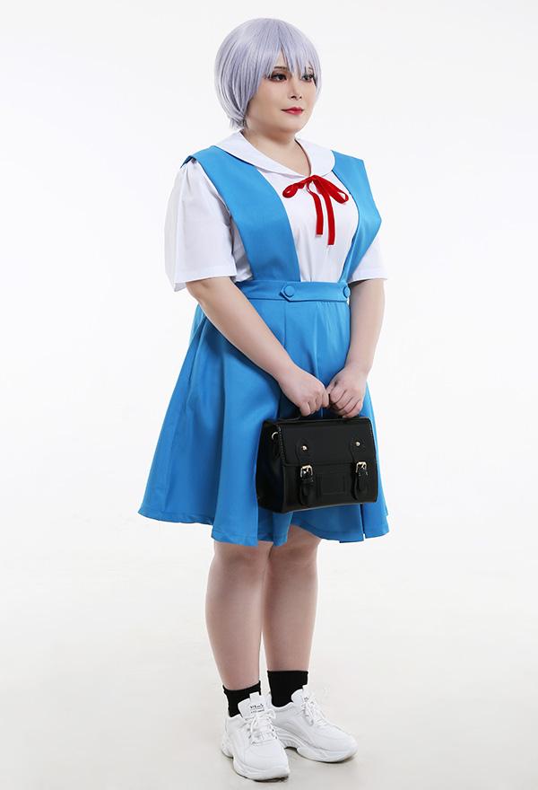 Übergröße Neon Genesis Evangelion EVA Cosplay Kostüme Rei Ayanami Asuka Langley Sōryū Japanische Studenten Uniform Cosplay Kostüme